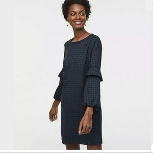 LOFT Blue Plaid Flounce Sleeve Shift Dress
